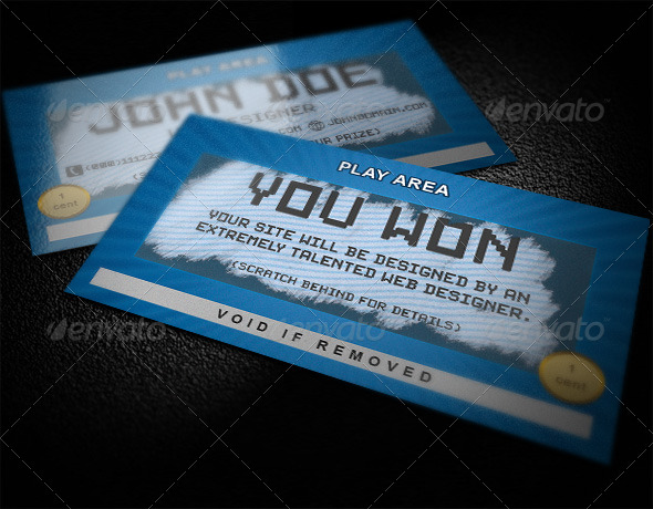 scratch card business card