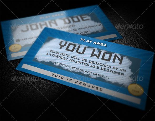 scratch card business card